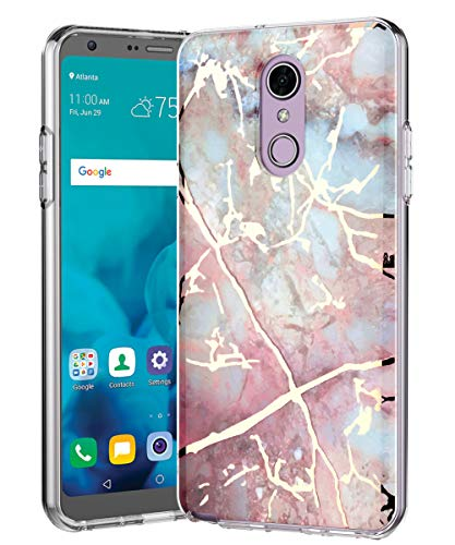 LG Stylo 4 Case, LG Stylo 4 Plus Case, LG Q Stylus Case,Spevert Marble Pattern Hybrid Hard Back Soft TPU Raised Edge Ultra-Thin Slim Cover Protective Case for LG Stylo 4 - Colorful