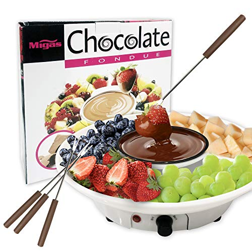Chocolate Fondue Maker  110V Electric Chocolate Melting Pot Set with 4 Steel Forks Stainless Steel Bowl Serving Tray  Upgraded Heating Material for Quick Melting