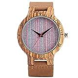 Leyue Reloj de Madera Relojes de Pulsera de Cuarzo analógico para Hombre Reloj de Pulsera de Madera Natural Liviana WTIH Regalo de bambú de bambú Ajustable para Hombres (Color: B) (Color : C)