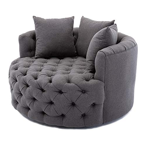 Dolonm Swivel Accent Barrel Chair Modern Sofa Lounge Club Round Chair Linen Fabric for Living Room Hotel with 3 Pillows (Grey)
