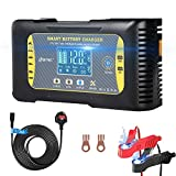 HTRC Car Battery Charger 12V/24V 10Amp 7 Stages Lithium Lead-Acid LiFePO4 Compatible Automotive Smart Battery Charger, with LCD Screen Maintainer/Pulse Repair Charger for Car, Motorcycle and More