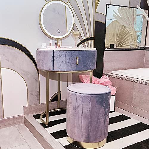 Carme Ibiza Bohemia - Set di sgabelli da toeletta in velluto con sensore touch a LED, colore: Grigio tempesta