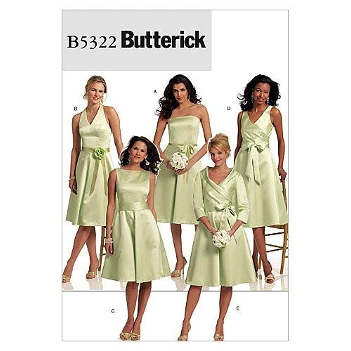 BUTTERICK PATTERNS B5322 Misses' Dress and Sash, Size BB (8-10-12-14)
