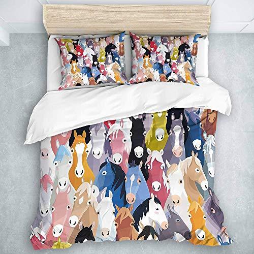 Juego de Funda nórdica, patrón con Dibujos Animados Coloridos Caballos Pony Ilustraciones Infantiles Infantiles, Calidad de Hotel para Hombres, niños, edredón, edredón, Juego de 3 Piezas