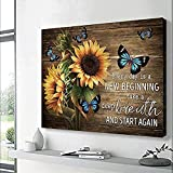 FADALO ART Rustic Canvas Wall Art Sunflowers and Butterflies Art Prints for Living Room Country Style Wall Decor New Beginning Quotes Poster Wood Framed Painting Farmhouse Home Decor Picture 16'x24'