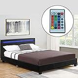 ArtLife Polsterbett Verona 120×200 cm schwarz | Bettgestell Holz inkl. LED-Beleuchtung, Kunstleder & Lattenrost | Einzelbett Kunstlederbett Bett