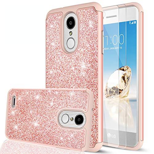 LG Aristo 2 Case, LG Aristo 3/ Tribute Dynasty/Phoenix 4/ Rebel 4/ Aristo 2 Plus/Fortune 2/ Rebel 3 Case w/2PCS Tempered Glass Screen Protector, LeYi Glitter Case for LG K8 Plus 2018 Rose Gold