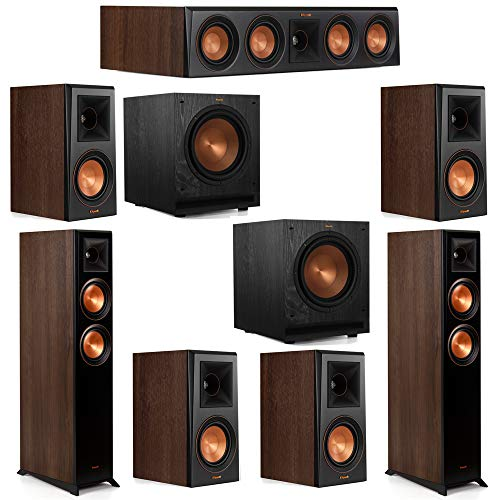 Best Deals! Klipsch 7.2 Walnut System 2 RP-5000F Floorstanding Speakers, 1 Klipsch RP-404C Center Sp...
