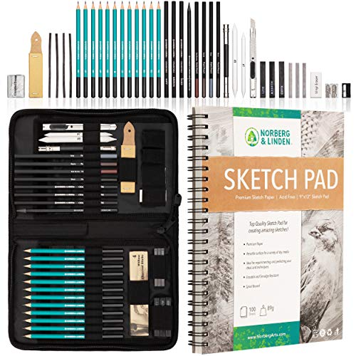 XXL Drawing Set - Sketching and Charcoal Pencils. 100 Page Drawing Pad, Kneaded Eraser, and Graphite. Art Set for Kids, Teens and Adults