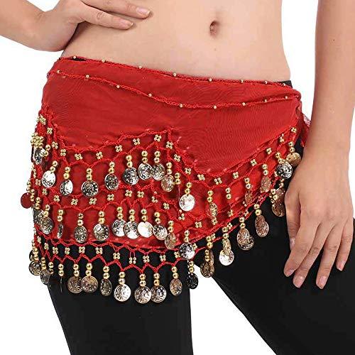 FLOFIA Cintura Danza del Ventre Sciarpa per Danza Orientale Indiana del Ventre con 128 Monete per Donna Ragazza 140cm Rosso
