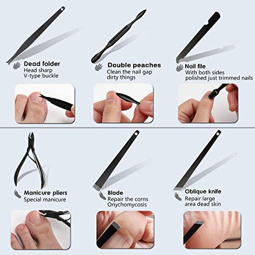 Onme Kit de pédicure 15 pièces coupe-ongles en acier inoxydable Ciseaux à ongles professionnels...