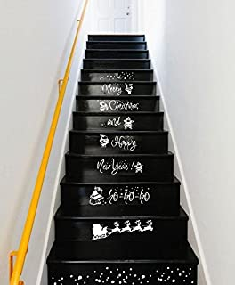 CreativeWallDecals Wall Decal Vinyl Sticker Decals Art Decor Design Sign Custom Quote Stairs Merry Christmas Happy New Year Santa ho-ho Gift House (r1351)
