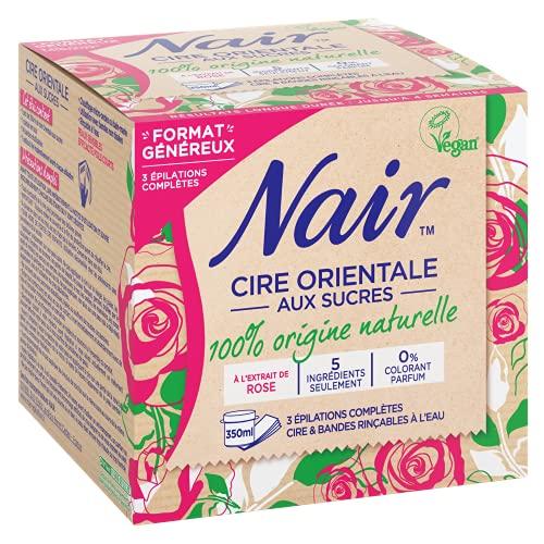 Nair - Cire Orientale aux Sucres - à l'extrait de rose - 3 épilations corps - Bandes rinçables - 350 ml
