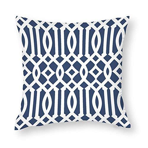 EU Modern Navy Blue and White Imperial Trellis Throw Pillow Covers Case Cushion Pillowcase with Hidden Zipper Closure for Home Decor