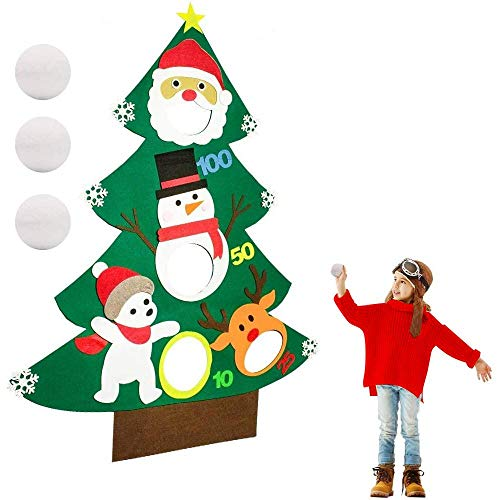 Verkstar Cornhole Bean Bags Set, 3.75ft Felt Christmas Tree Bean Bag Toss Games for Party Supplies Decorations Sport Games Holiday Outdoor Indoor Patio Birthday Game for Xmas Gift