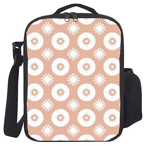 Lunchpaket mit Blumenmuster und Reißverschluss, auslaufsichere, isolierte Kühltaschen aus Polyester für Schule, Arbeit, Kunstwerke mit abstrakten Blütenblättern