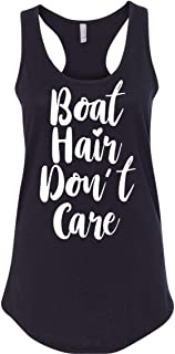 Red Bird Boat Hair Don't Care Funny Boating Tank Top