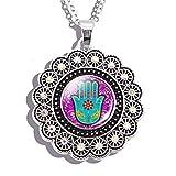 Inveroo Hamsa Patrón Flores Collar Moda Arte Cristal Cabujón Joyería Colgante Yoga Mano De Fátima Judaica Encanto Collares Regalos