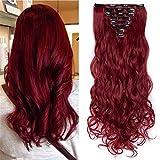 TESS Haarteile Clip in Extensions wie Echthaar günstig Haarverlängerung 8 Pcs 18 Clips Haarteil Hair Extensions Gewellt 24'(60cm)-140g Rot