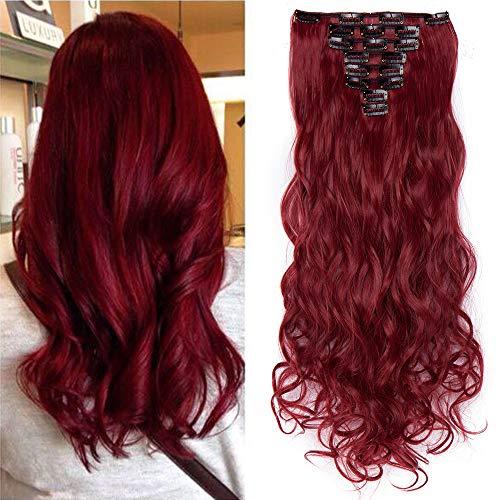 TESS Haarteile Clip in Extensions wie Echthaar günstig Haarverlängerung 8 Pcs 18 Clips Haarteil Hair Extensions Gewellt 24