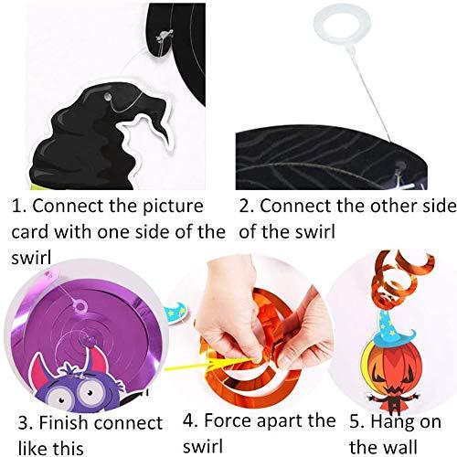 wsryx 12PCS Decorazioni a Spirale da Appendere di Halloween, Spirali a Spirale a soffitto Lamina con Pipistrello Strega Teschio Ragno Fantasma Zucca Mostro Carte Articoli (Colore)