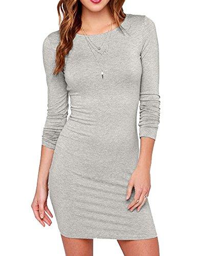 Haola Women's Sexy Casual Long Sleeve Short Dress Mini Dress S MultiGrey