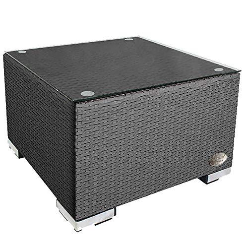 RS Trade 'Toscana' Polyrattan Beistelltisch mit verstärktem Alu-Gerüst und Temperglas Tischplatte (bis 90 kg als Hocker nutzbar), integrierte Spannbänder und höhenverstellbare Standfüße, Silber