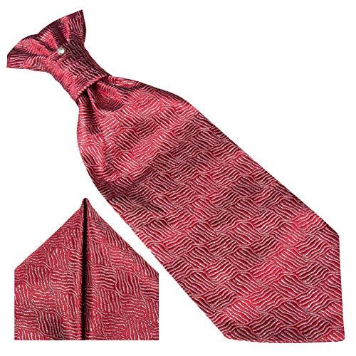 GASSANI GASSANI 3- SET Plastron   Rote breite Krawatte & Einstecktuch   Binder zum Anzug Verlobung Hochzeit   Hochzeitskrawatte fertig gebunden