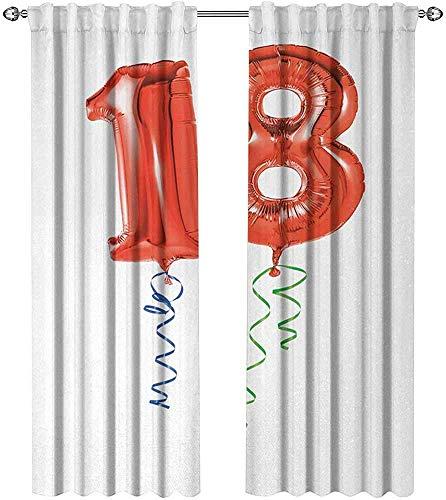 Gordijnen Geïsoleerd, Vliegende Partij Ballonnen Met Krullend Touwen 18 Jaar Oude Afbeelding Kunst Print,Gordijnen Voor Jongens Room,2 Paneelsets W52xL72 Inch