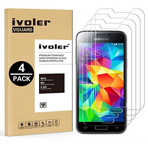 ivoler [4 Stücke] Panzerglas Schutzfolie Kompatibel für Samsung Galaxy S5 Mini, 9H Härte, Anti- Kratzer, Bläschenfrei, [2.5D Runde Kante]