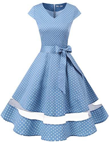 Gardenwed Vintage Vestidos Coctel Corto 50s Vestido de la Fiesta para Mujer Blue Small White Dot 2XL