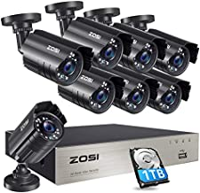 ZOSI 8CH Security Cameras System with Hard Drive 1TB,5MP Lite H.265+ 8Channel CCTV DVR Recorder with 8pcs 1080P HD Indoor Outdoor 1920TVL Surveillance Cameras with Night Vision for 24/7 Recording