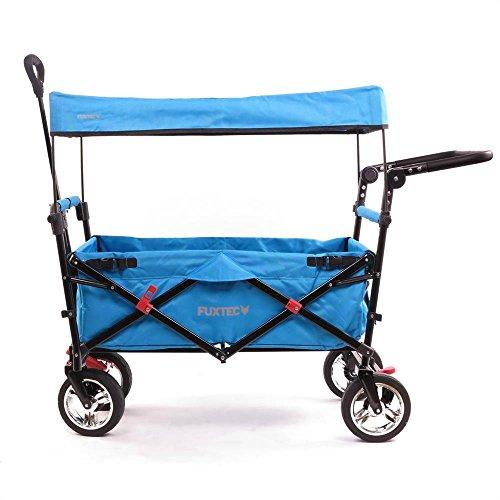 Fuxtec Faltbarer Bollerwagen FX-CT700 Türkis klappbar mit Dach, Vorder- und Hinterrad-Bremse, Vollgummi-Reifen, Schubbügel, für Kinder geeignet - Das Original !