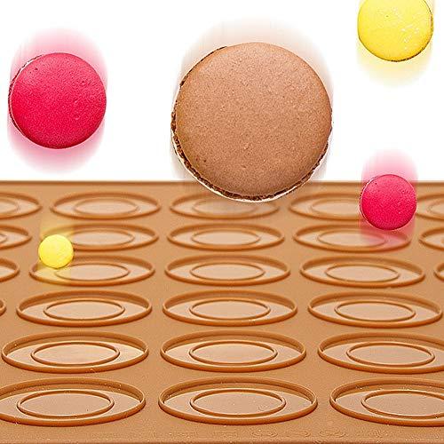 Macaron Silikon-Backen-Matte, Silikon-Matte für Makronen Macaron Pad Silikon-Backen-Matte-Form mit 30 Kavitäten-Plätzchen-Gebäck DIY Bakeware Backblech Formen - antihaftbeschichtetem