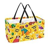 Sac d'épicerie réutilisable grand 50L bacs de rangement panier sacs fourre-tout coloré chien heureux meilleur ami chiots motif