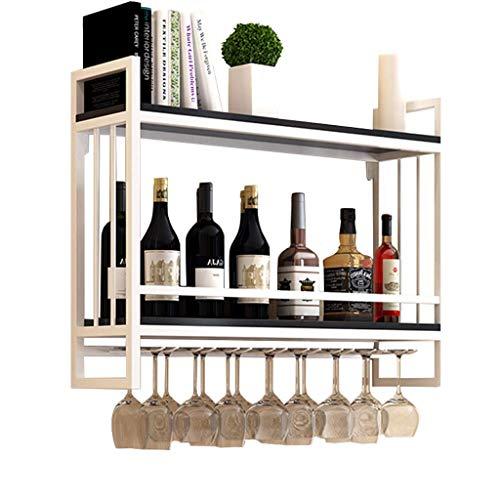 Alqn Abgehängter Weinflaschenhalter | Weinregale Wandmontage Holz Metall | Hängender Weinglashalter | Weinregal mit Glashalter | Weinregal Holzlagereinheit,80 cm × 20 cm