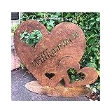 Radami Edelrost Herz - Willkommen - Schild Willkommensschild Gartenstecker Metall Gartenfigur, Metall Figur Gartendekoration schwere Ausführung (Herz 990g)