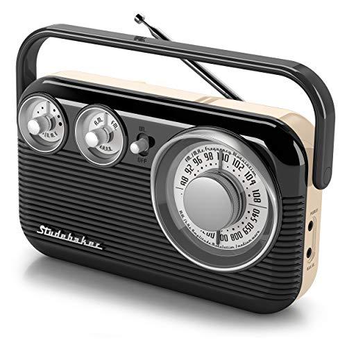 Studebaker SB2003 Retro Portable AM/FM Radio AC or Battery Operated (Black/Cream)