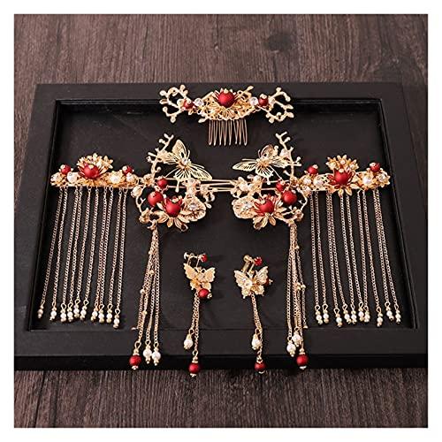 xiaofeng214 Mujeres Pein Pein Combs Tradicional Chino Boda Accesorios para el Cabello Diadema Stick Headdress Joyería Cabeza de Novia Pin