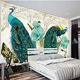 ZLYYH 3D Wallpaper Wandbild,Blauer Pfau Wandbilder,