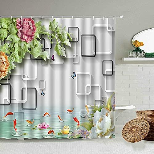 AETTP Chinesische Dreidimensionale Box Grüner Bambus Zen Duschvorhang Schwan Koi Badezimmer Blackout Wasserdichter Sichtschutz Mit Haken Set 180 * 180cm