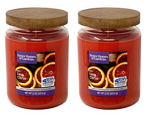powerful Better Homes Gardens Scented Candle, 22 oz, 2 Pairs of Red Lava Citrus