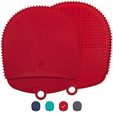 The Ultimate Silicone Pot Holders / Oven Mitts - Unique Design Makes Them Safe, Non-Slip & Flexible for the Highest Protection & Performance - Heat Resistant Up To 500°F (Coral Red, 1 Pair)