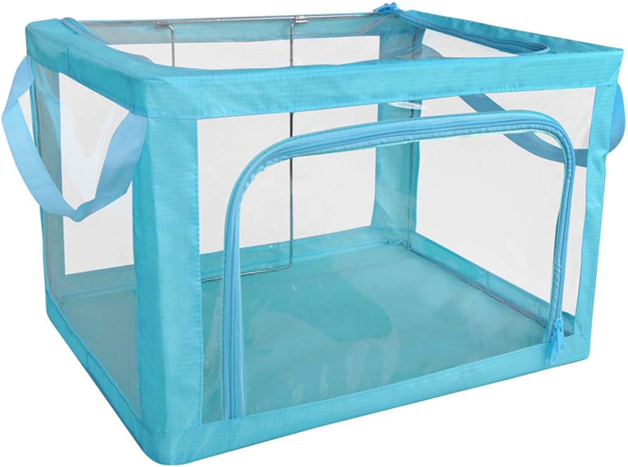 más descuento MJB Caja Caja Caja de Almacenamiento Plegable Transparente de la Ropa, Caja de Almacenamiento de Acero del pao de Oxford, guardarropa, cabecera (Color   azul)  alta calidad y envío rápido