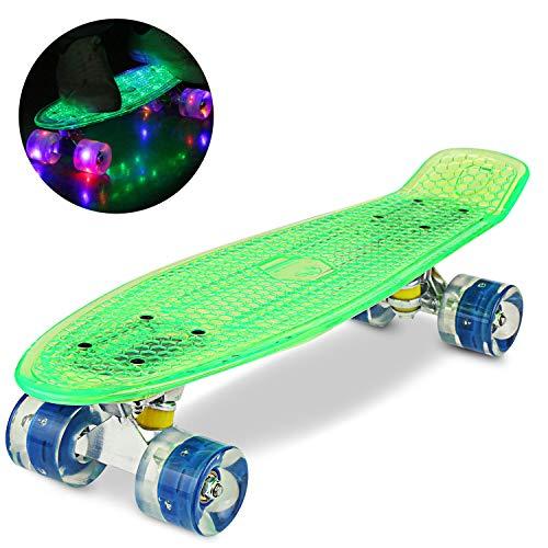 WeSkate 55CM Mini Cruiser Skateboard Blinkender Deck, Kunststoff Skateboard mit LED Leuchten/Deck Komplett Retro Skate Board für Jungen Mädchen Kinder Jugendliche Erwachsene