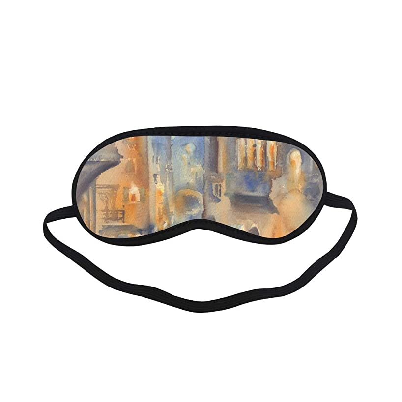 All Polyester Venetian Oil Painting Scenic Scenic Area Riverside Boat Architecture Sleeping Eye Masks&Blindfold by Simple Health with Elastic Strap&Headband for Adult Girls Kids and for Home Travel