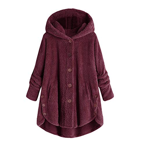 HROIJSL Einfarbiger Plüschmantel mit Kapuze und Knopf für Damen Mode Frauen Knopf Mantel Fluffy Tail Tops Kapuzenpullover Lose Strickjacke Plüsch Winterjacke Coat