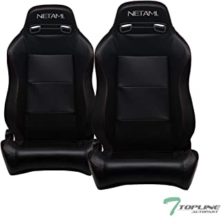 Topline Autopart Universal 2X T-R Sport Style Black PVC Leather Red Stitch Reclinable Racing Bucket Seats with Slider