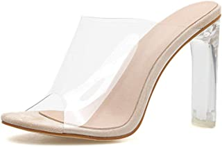Cosplay-X Peep Pointed Toe High Heel Mules Sexy Sandals for Women Dress Heels Ladies Clear Summer Shoes