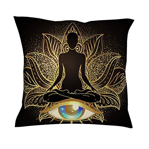 QVOOD Funda de cojín con diseño de ojo de buda, de lino, para sofá, coche, dormitorio o casa, color blanco, 45 x 45 cm